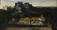 an extensive landscape with workers harvesting wheat in the foreground by lucas gassel