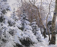 im winterwald. blick auf verschneite tannen by carl friedrich felber