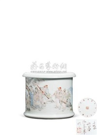 浅绛彩笔筒 (porcelain pen holder) by xu shanqin