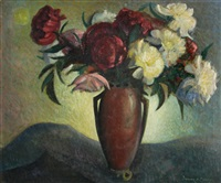 still life with pink and white flowers by walter alexander bailey