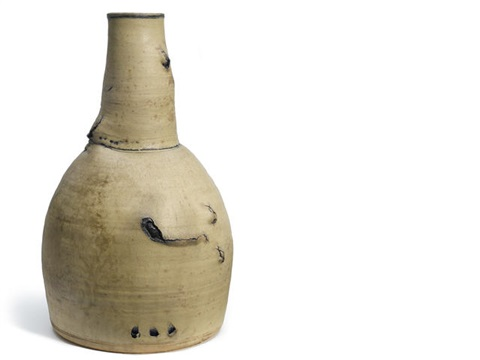 cream and blue stackvase by peter voulkos