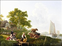 river landscape with barges, cattle and maid cleaning metalware by leendert de koningh