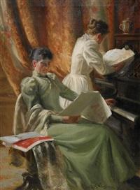 interiör med musicerande kvinnor vid pianot by emil (harald emanuel) lindgren