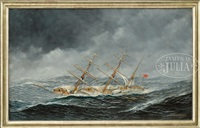 portrait of the norwegian schooner gunniloe by antonio jacobsen