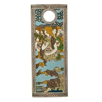 art nouveau hand-painted cuenca tile with female figures of winter months by eugène grasset