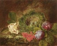stilleben mit einem vogelnest, pflaumen, fleißigen lieschen und einer rose by william h. ward