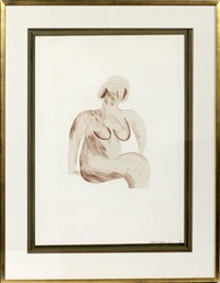 picture of a simple framed traditional nude drawing from a hollywood collection by david hockney