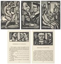 l' homme a la myrrhe; princeps ivventutis; chemineau et paysans; sainte pute; princeps ivventutis (5 works) by georges rouault