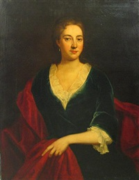 a portrait of a lady, three-quarter length with a red wrap by john greenhill