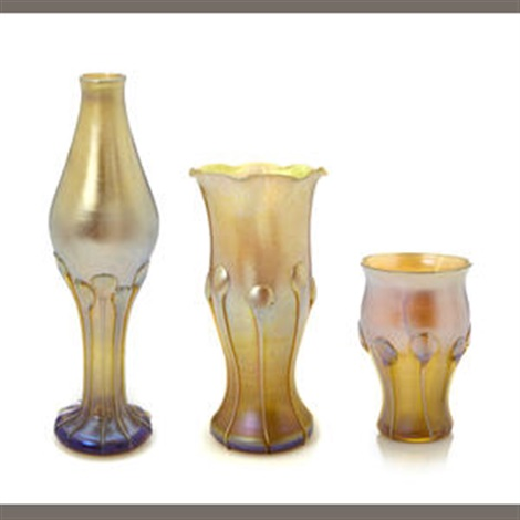 cabinet vase bottle form and vase with ruffled rim set of 3 by louis comfort tiffany