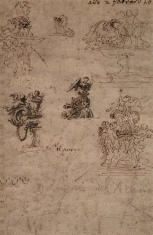 brunnen entwurfskizzen sketches verso by gian lorenzo bernini