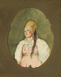 porträt eines mädchens in tracht by viktor alekseevich bobrov