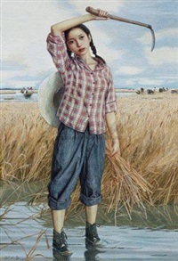 青春纪事之七·水中割麦 (the memory of youth no.7·cut the wheat in water) by liu kongxi