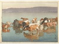 numazaki bokujo no hiru (noon rest at numazaki pasture)/noon day's rest - numazaki by hiroshi yoshida