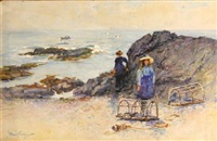 children on a rocky beach by alexander wellwood rattray
