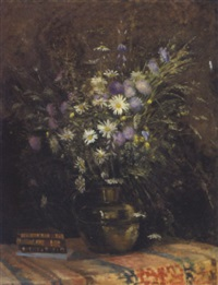 markblomster i en vase på et bord by paul-marie lapierre-renouard