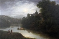 moonlit view of an italian city by thomas christopher hofland