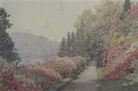 azeleas and rhododendrons alongside a swiss lake by ernest arthur rowe