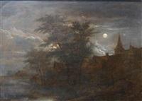 townscape by night by adriaen hendricksz. verboom