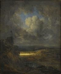 paysage d'orage et reflet de soleil by georges michel