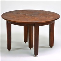 five-leg dining table with two leaves by gustav stickley