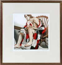 hunzinger chair and the wooden swan by philip pearlstein