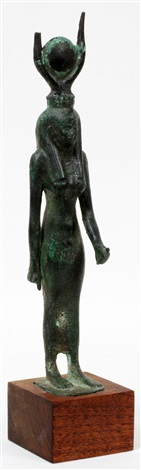 """egyptian bronze small sculpture, h 8 7/8"""", standing figure of isis"""