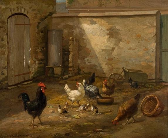 blick in einen hühnerhof by philibert leon couturier