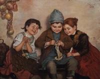 drei kinder bei der handarbeit by edmund adler