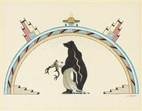 untitled (a pueblo dance scene)(+ untitled (a bear with prey), smllr; 2 works) by jose d. roybal