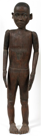 south pacific carved wood burial sculpture of a male 19th c h 33