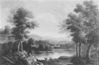 romantic river landscape with figures and cattle by john smith the younger
