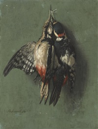 pics épeiches (great-spotted woodpeckers); grives litornes (fieldfare thrushes) (pair) by benjamin fils raspail