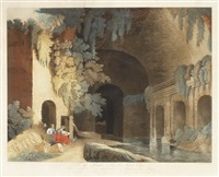 the fountain of egeria near rome & prospect ... house of nicolas di pienzo (nach r. freebairn & hubert) by johann thomas hauer