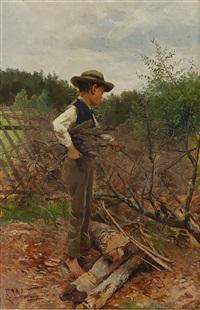 pojke vid gärdesgård by elisabeth warling