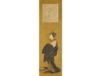 courtesan and poem card by kano akinobu