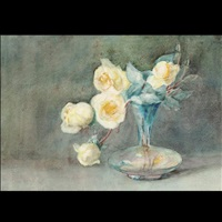 yellow roses in a blue glass vase by john la farge