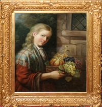 young woman carrying fruit by john leighton