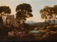 flusslandschaft mit ruinen und weidenden kühen by herman van swanevelt