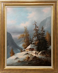alpine winter scene with hikers by ludwig muninger