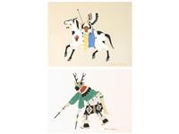 pueblo deer dancer and a mounted warrior by julian (pocano) martinez