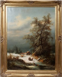 alpine winter scene, pulling sled of wood by ludwig muninger