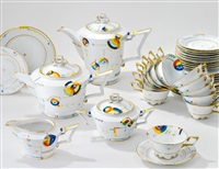 tee-/kaffeeservice tirana (set of 40; decor by rudolf greiner) by friedrich fleischmann
