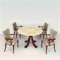un tavolo e quattro poltroncine (5 works) by arredamenti borsani (co.)