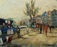 stalls by the river seine by jan van campenhout