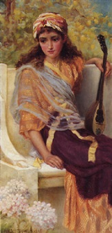 classical girl with a stringed instrument by norman prescott davies
