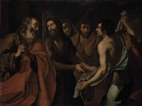 the brothers of joseph showing jacob joseph's blood-stained coat by joachim von sandrart the elder