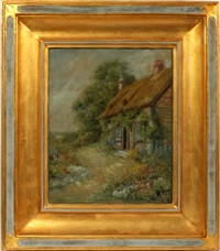 cottage with flowers by charles ephraim burchfield