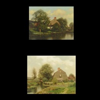 afternoon at waterford & cottage by the lake (2 works) by henry pember smith