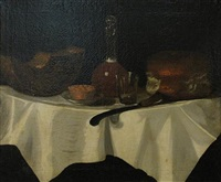 a still life with bread and cheese by george smith of chichester